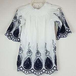 Studio west white embroidered off the shoulder top